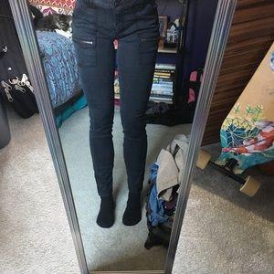 "Loft Black Skinny ""Cargo"" Pants with Zippers"
